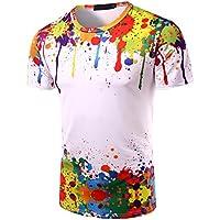 Patrón de pintura de los hombres de impresión 3D cuello redondo de manga corta T-shirt / verano de gran tamaño base creativa de los hombres 3D de manga corta / slim adelgazar camisa de cuello redondo,Color de la fot,XL GZZ