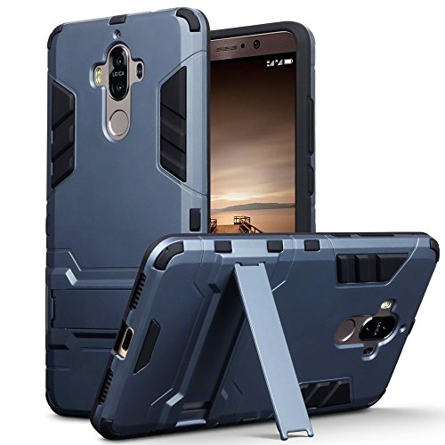 Terrapin, Kompatibel mit Huawei Mate 9 Hülle, Silikon + Polycarbonat Tasche mit Standfunktion - Dunkelblau EINWEG