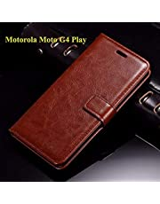 Thinkzy MO13-LE2 Flip Cover for Motorola Moto G4 Play (Brown)