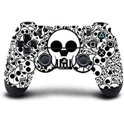 Elton PS4 Controller Designer 3M Skin for Sony PlayStation 4 , PS4 Slim , Ps4 Pro DualShock Remote Wireless Controller - Skulls ( B&W ) , Skin for One Controller Only
