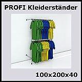 100x200x40 PROFI KLEIDERSTÄNDER WANDSTÄNDER WANDREGAL REGAL KLEIDERSTANGE-P100R