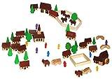 Unbekannt 60 TLG. Set: Dorf mit Kirche, Häuser & Bäume, Pferdewagen, Figuren und Bausteine - aus...
