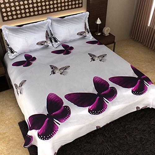 Dream Weaverz Queen Size Pure Glaze Cotton Bedsheet with 2 Pillow Covers - 3D Print Double Bedsheet - Multicolored