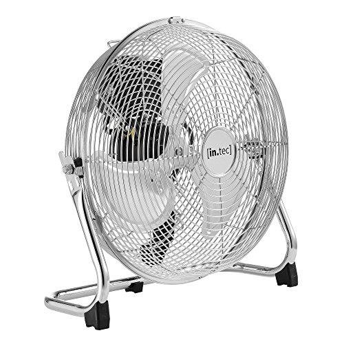 [in.tec] Bodenventilator Windmaschine Metall Tischventilator Ventilator ø30cm 55W silber