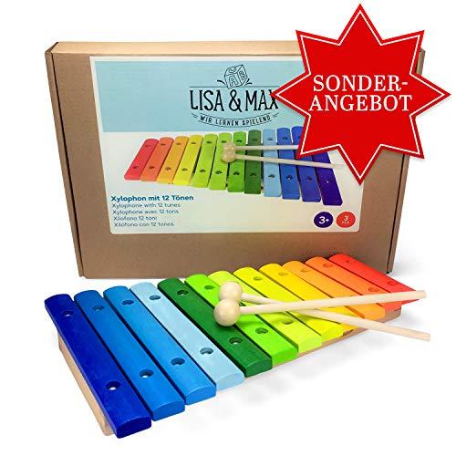 ***EINFÜHRUNGSANGEBOT*** Spielzeug Xylophon für Kinder aus Holz mit 12 Tönen - UNGESTIMMT - Wunderschönes Glockenspiel mit farbigen Klangplatten - Schult Motorik und begeistert fürs Musizieren - Holzspielzeug von Lisa&Max