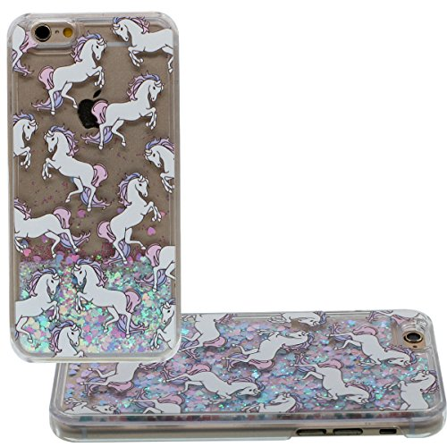 "iPhone 6S Plus Coque Dur Transparent Case étui de Protection pour Apple iPhone 6 Plus 6S Plus 5.5"", Charmant cheval Blanc Motif Liquide Eau Style Coloré Sable / Étoiles Cyan"