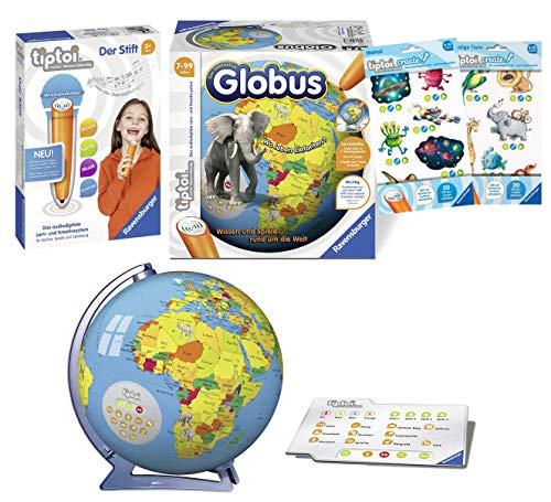tiptoi Ravensburger 00801 - Der Stift & Ravensburger 00787 - 3D Puzzle: Interaktiver Globus 17 + 2 x Create Sticker (Verschiedene Auslieferungen)