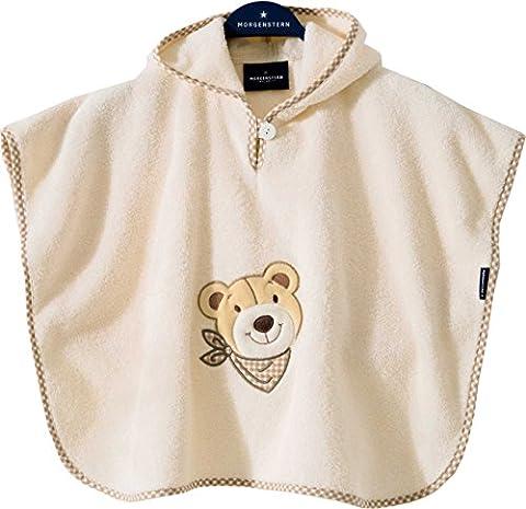 Morgenstern, hochwertiger Frottee - Bade - Poncho aus 100 % Baumwolle, Farbe beige, Motiv Bär, Größe one size (ca. 1 bis 3 Jahre)