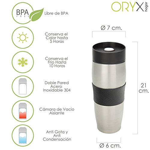 Oryx 5075040 Vaso Termico Acero Inoxidable Antigoteo 380 ml