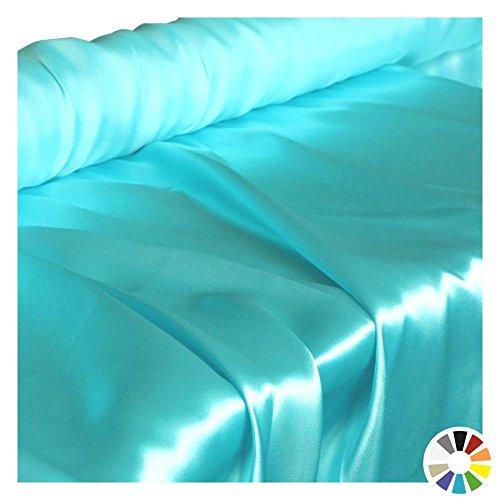 Glanz SATIN Modestoff / Deko-Stoff / Kostümstoff als Meterware am Stück (Türkis-Blau) (Blauer Stoff Tischdecke)