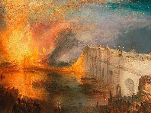 Rahmen-Kunst Keilrahmen-Bild - William Turner: The Burning of The Houses of Lords and Commons Leinwandbild London Brand