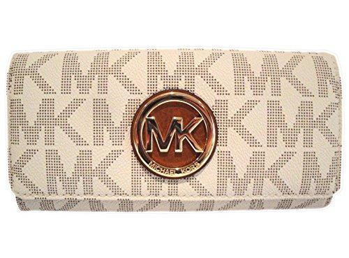 Michael Kors Women's Fulton Signature Long Continental Clutch Wallet Vanilla/Acorn …