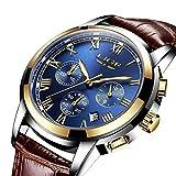FOVICN Herren Uhr Analog Quarz mit Leder Armband L-001