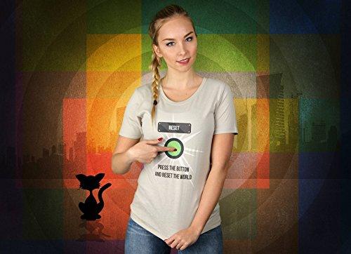 Press The Button - Damen T-Shirt von Kater Likoli Light Gray