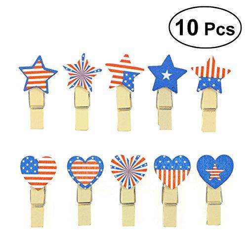 LUOEM Patriotische Foto Clip Pins amerikanische Flagge Hinweis Memo Card Postkarte Inhaber Kunst und Handwerk 4. Juli Party Dekoration - Foto-hinweis-card-inhaber