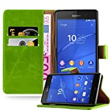 Cadorabo Hülle für Sony Xperia Z3 - Hülle in Gras GRÜN – Handyhülle im Luxury Design mit Kartenfach und Standfunktion - Case Cover Schutzhülle Etui Tasche Book