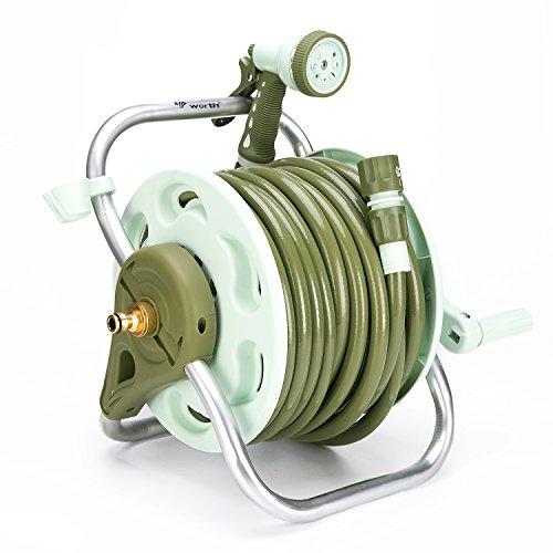 Worth Portable Enrouleur de tuyau avec ensemble de tube Enrouleur sur pied Troley Cart, 20 m 1/5,1 cm Tuyau d'arrosage, 8 Patterm Pistolet pulvérisateur et connecteurs raccords