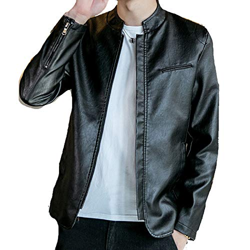 SBL Herbst Herren Jacke Leder Fit - Fashion Jugend Jacke Wild Casual Lederjacke Herrenbekleidung,schwarz,M