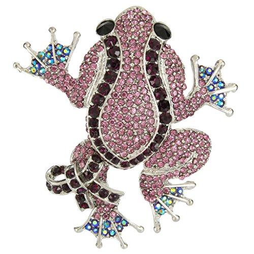 Ever faith enveloppé-câble broche cristal mignonne grenouille lila-Silber-Ton