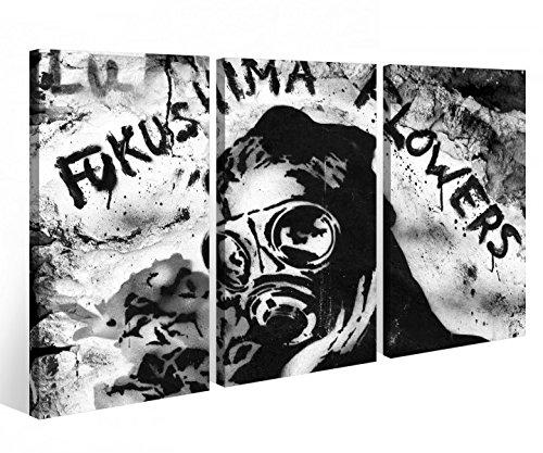 Leinwandbild 3 Tlg. Fukushima Blumen Japan Tod Maske Leinwand Bild schwarz weiß Bilder Holz - fertig gerahmt 9O841, 3 tlg BxH:90x60cm (3Stk 30x 60cm) -