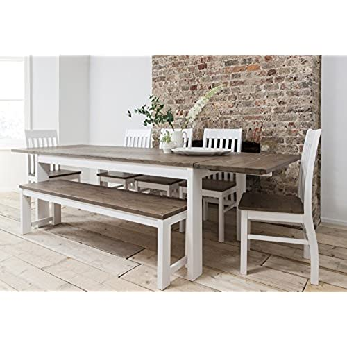 Elegant Hever Dining Table With 5 Chairs U0026 Bench In White And Dark Pine Extendable  With 2 X Extensions Noa U0026 Nani