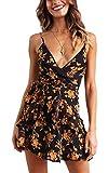 Angashion Damen Sommerkleid Blumen V-Ausschnitt Minikleid Spaghettiträger Mode Strandkleider Mit Gürtel Schwarz S