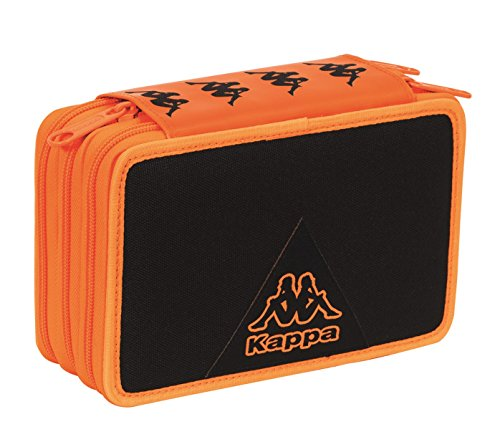 Estuche Escolar 3 Pisos – Kappa – Multi Compartimentos con lápiz, rotuladores, boligrafos.Negro Orange