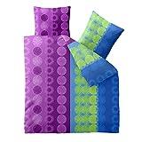 Bettwäsche 200x200 Baumwolle, Trend Dina Streifen Kreise blau lila grün aqua-textil 0011738