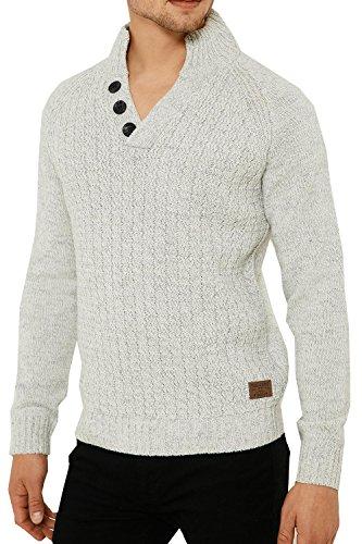 Threadbare Herren Jumper Pullover blau blau Small Gr. Medium, Winter White - Grey (Top Funnel Knit Neck)