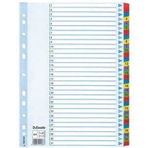 Esselte 100164 Intercalaires touches imprimées en Mylar A4 31 Touches