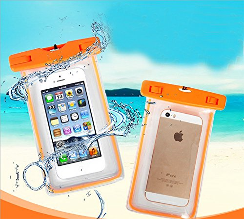 Hosaire 1X Cellulare Impermeabile Universale 6 Pollici Waterproof Cover Case Impermeabile per iPhone SE / 6s / 6s plus / 6 / 6 plus / 5s / 5c / 5, Samsung S7 / S7 edge / S6 / S5 ed altri Smartphone, e Arancione