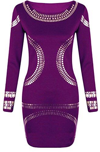 Nouveau Femmes Célébrité Foil Midi Robe Kardashian Bodycon Midi 44-54 purple