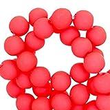 Sadingo Kunststoffperlen, Acrylperlen matt - 8 mm - 100 Stück - Perlen zum Basteln wie Armbänder, DIY Schmuck, Bastelperlen, Farbe:Coral Red