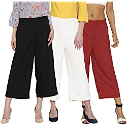ROOLIUMS ® (Brand Factory Outlet) Women's Culottes Combo, Pack of 3 (Black, White, Maroon) - Free Size