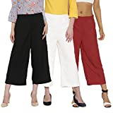 Rooliums Women Culottes Combo Pack of 3 (Black, White and Maroon, Free Size)