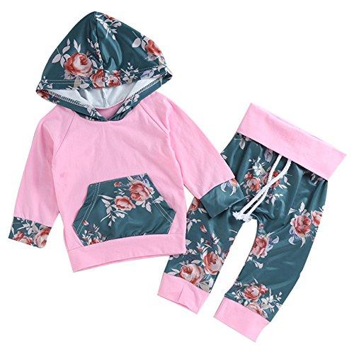 Funnycokid 2Pcs Baby Girls Set Floral Hoodies Sweatshirt Mit Pocket + Floral Lange Hose Set Leggings Outfits