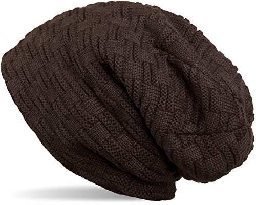 styleBREAKER warme Feinstrick Beanie Mütze mit Flecht Muster und sehr weichem Fleece Innenfutter, Unisex 04024058, Farbe:Dunkelbraun (Männer-beanie-mütze)
