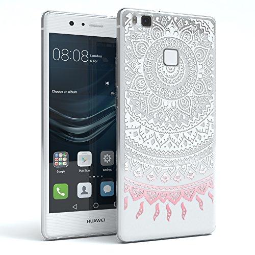 Huawei P9 Lite Hülle, EAZY CASE Ultra Slim TPU Handyhülle - dünne transparente Schutzhülle aus Silikon Weiß / Rosa