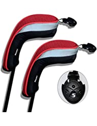 Andux Lot de 2/tête de Club de Golf Hybride Couvre Avec interchangeables sans étiquette. Lot de 2