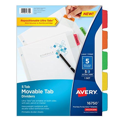 Avery Dennison weiß bewegbar Tab Teiler, mehrfarbig (Avery Teiler Weiß)