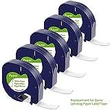 5 x Cintas de Papel Etiquetas S0721510 Compatible Dymo LetraTag Maquina para Etiquetas LT-100H LT-100T LT-110T QX 50 XR XM 2000 Plus, Negro Sobre Blanco, 12mm x 4m