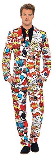 Smiffys, Herren Comic Strip Anzug Kostüm, Jacke, Hose und Krawatte, Größe: XL, 43526