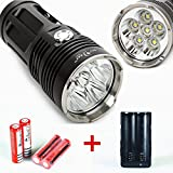 Briday Zoomble T6 LED 3 Modes CREE XM-L T6 Flashlight Waterproof Hunting Camping Climbing Handhold Torch Light + 2* Two-slot 18650 Battery Charger + 4* Li-ion 4200mAh Battery (Color: Black)