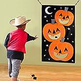 AerWo Sacchetto di fagiolo della zucca di Halloween dello stuoia di Halloween di lancio del gioco + 3 sacchetti di fagioli, partito di Halloween del partito del Cornhole Party per i bambini ed i adulti 30X54in