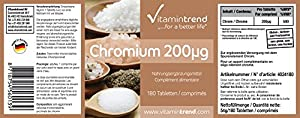 Vitamintrend - Chromium 200?g - ! bulk pack FOR 6 MONTHS ! - vegan - chromium picolinate - 180 tablets