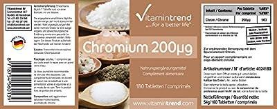 Vitamintrend - Chromium 200?g - ! bulk pack FOR 6 MONTHS ! - vegan - chromium picolinate - 180 tablets