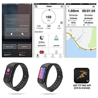 NK Pulsera de Actividad Inteligente Smartband-02, Frecuencia cardíaca, Monitor del sueño, Resistencia al Agua IP67, Podómetro, Color Negro