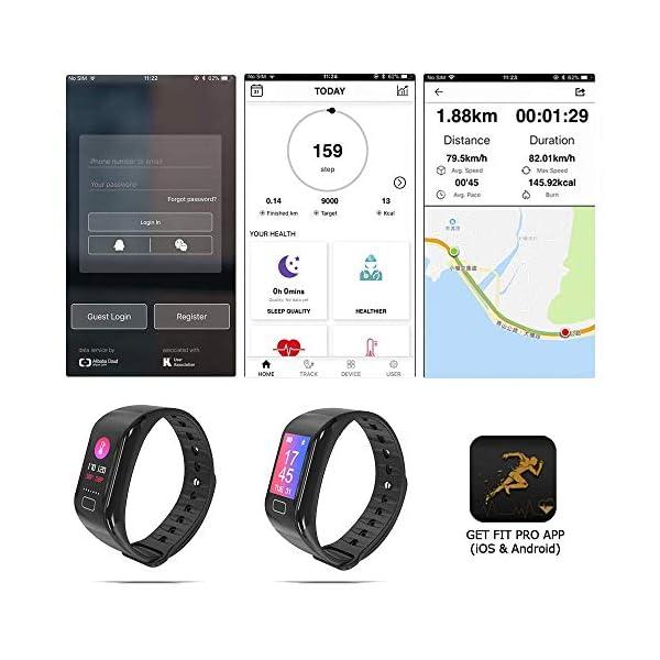 NK Pulsera de Actividad Inteligente Smartband-02, Frecuencia cardíaca, Monitor del sueño, Resistencia al Agua IP67, Podómetro, Color Negro 6