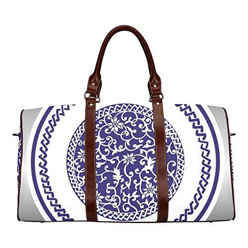Reisetasche blau und weiß Porzellan wasserdicht Weekender Tasche über Nacht Carryon Handtasche Frauen Damen Einkaufstasche mit Mikrofaser Leder Gepäcktasche China Creamer