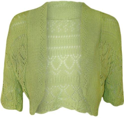 WearAll - Damen Häkeln Strick Kurzarm Bolero Cardigan - Apfel - 42-44 (T-shirt Apfel Frauen)